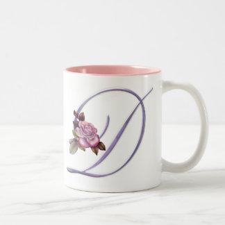 Pink Roses Monogram D Two-Tone Coffee Mug