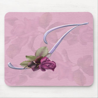 Pink Roses Monogram I Mouse Pads