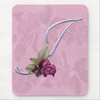 Pink Roses Monogram I Mouse Pad