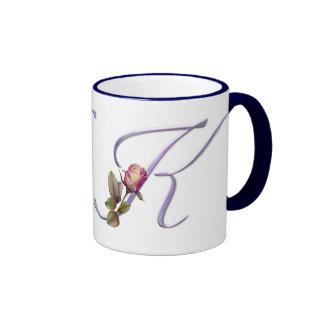 Pink Roses Monogram K Ringer Coffee Mug