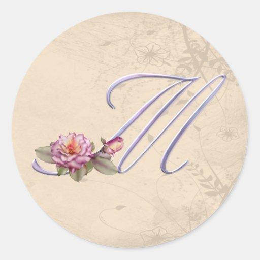 Pink Roses Monogram M Round Sticker