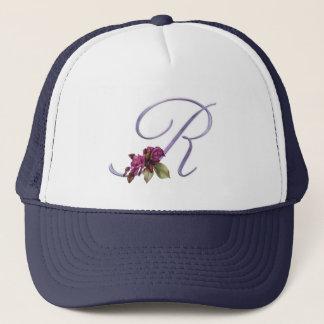 Pink Roses Monogram R Trucker Hat