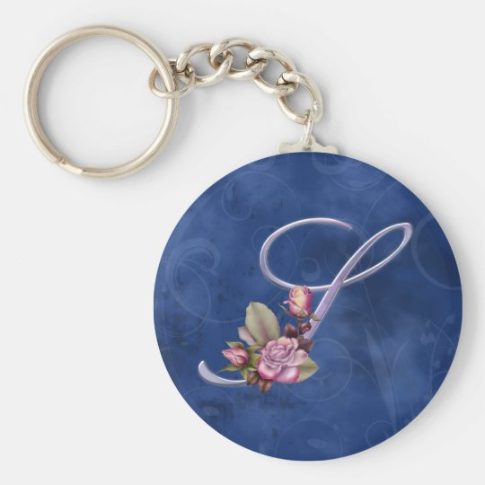 Pink Roses Monogram S Basic Round Button Key Ring