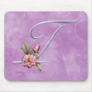 Pink Roses Monogram T Mouse Pad