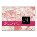 Pink Roses Monogram Thank You Card