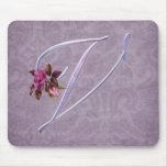 Pink Roses Monogram V Mouse Mat