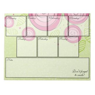 Pink Roses Notepad Weekly Planner