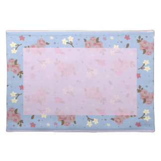 Pink Roses on baby blue background Placemat