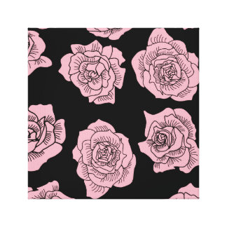 Pink roses on black background canvas print