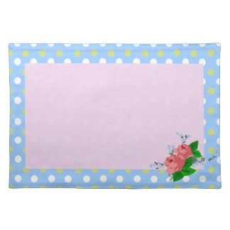 Pink Roses on Blue Polka Dot Placemat