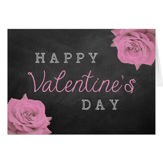 Pink Roses On Chalkboard Happy Valentine's Day Card