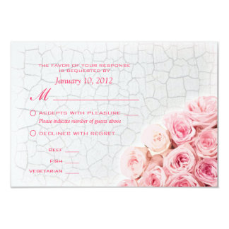 Pink Roses on Crackle Paint RSVP with Meal Options 9 Cm X 13 Cm Invitation Card