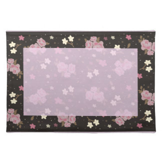 Pink Roses on dark brown background Placemat