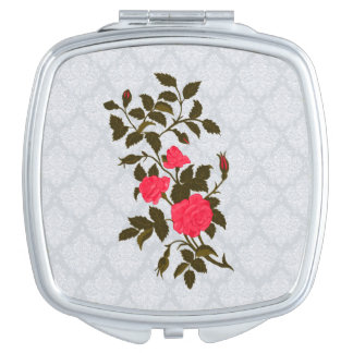Pink Roses on Lacy Background Travel Mirrors