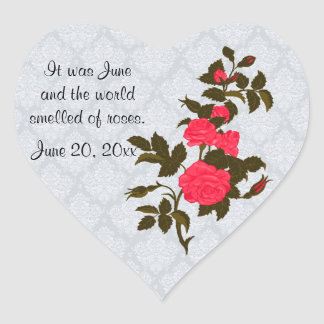 Pink Roses on Light Blue Lace Look Background Heart Sticker