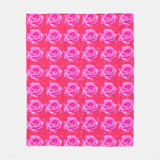 Pink Roses On Pink Bokeh Background, Fleece Blanket