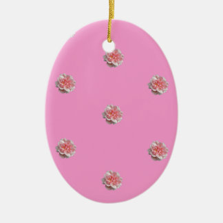 Pink Roses on Pink Christmas Ornament