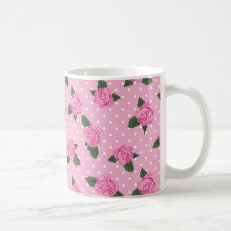 Pink Roses on Polka Dots Basic White Mug