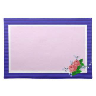 Pink Roses on Royal Blue Placemat