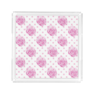 Pink roses pattern acrylic tray