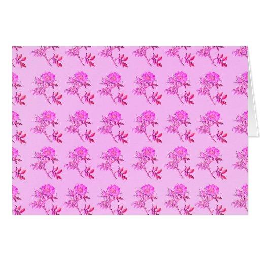 Pink Roses pattern Greeting Cards