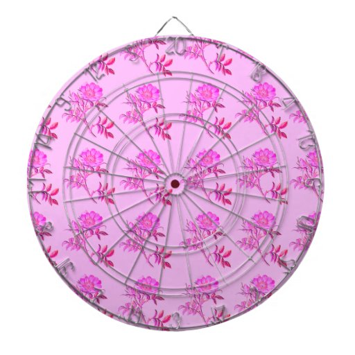 Pink Roses pattern Dartboard With Darts