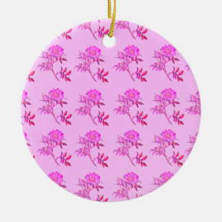 Pink Roses pattern Double-Sided Ceramic Round Christmas Ornament
