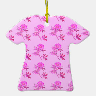 Pink Roses pattern Double-Sided T-Shirt Ceramic Christmas Ornament