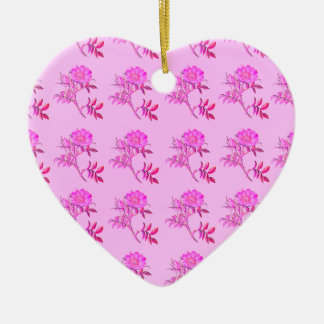 Pink Roses pattern Double-Sided Heart Ceramic Christmas Ornament