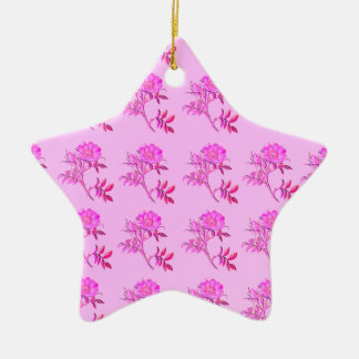Pink Roses pattern Double-Sided Star Ceramic Christmas Ornament