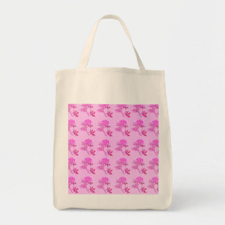 Pink Roses pattern Grocery Tote Bag