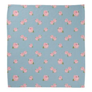 Pink Roses Pattern on Blue Bandana