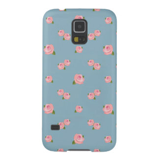 Pink Roses Pattern on Blue Case For Galaxy S5
