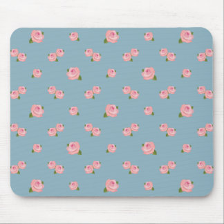 Pink Roses Pattern on Blue Mouse Mat