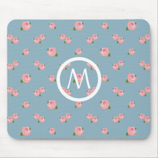 Pink Roses Pattern on Blue (Personalized) Mouse Mat