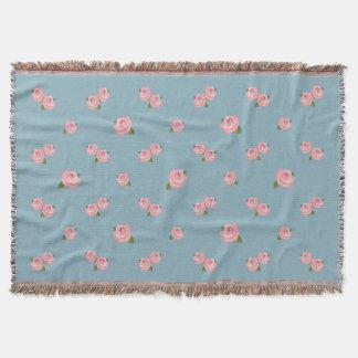 Pink Roses Pattern on Blue Throw Blanket