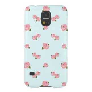 Pink Roses Pattern on Light Blue Case For Galaxy S5