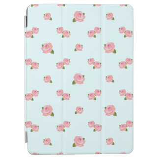 Pink Roses Pattern on Light Blue iPad Air Cover