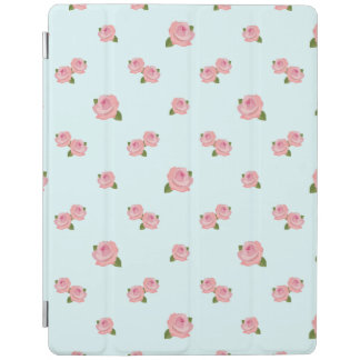 Pink Roses Pattern on Light Blue iPad Cover