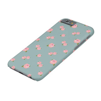 Pink Roses Pattern on Light teal Barely There iPhone 6 Case