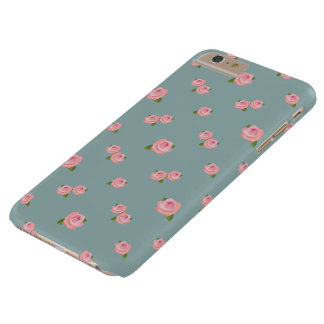Pink Roses Pattern on Light teal Barely There iPhone 6 Plus Case