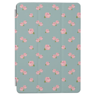 Pink Roses Pattern on Light Teal iPad Air Cover