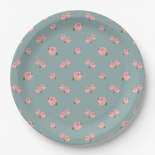 Pink Roses Pattern on Light Teal Paper Plate