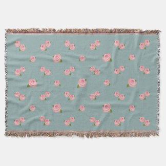 Pink Roses Pattern on Light Teal Throw Blanket