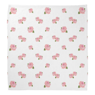Pink Roses Pattern on White Bandana