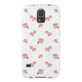 Pink Roses Pattern on White Galaxy S5 Case