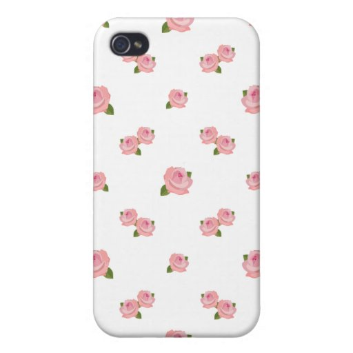 Pink Roses Pattern on White Case For iPhone 4