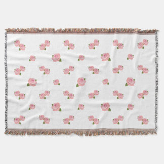 Pink Roses Pattern on White Throw Blanket