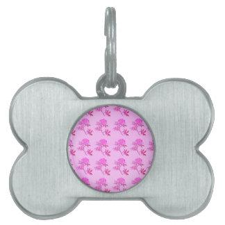 Pink Roses pattern Pet Name Tags