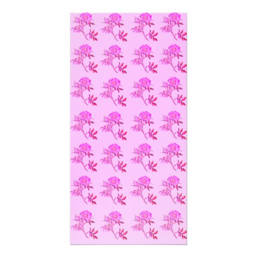 Pink Roses pattern Customized Photo Card